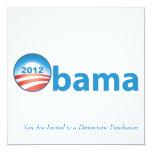 "Obama 2012 With Obama Logo 5.25"" Square Invitation Card"