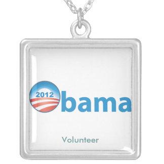 Obama 2012 With Obama Logo Square Pendant Necklace