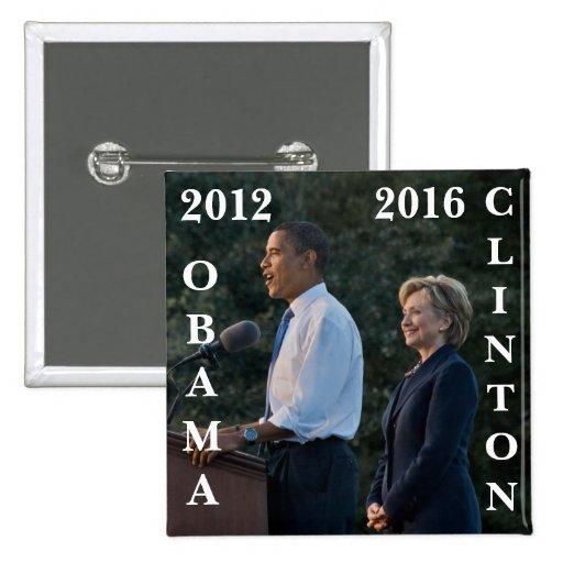 Obama 2012 y Clinton 2016 Pins