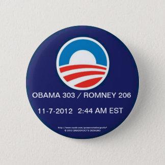 OBAMA 303 / ROMNEY 206 AT 2:44 AM EST, 11-7-2012 BUTTON