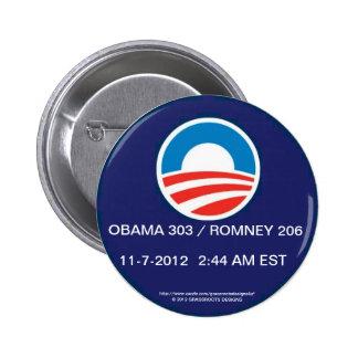 OBAMA 303/ROMNEY 206 EN EL 2:44 EST, 11-7-2012 PIN REDONDO 5 CM