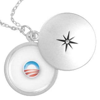 Obama 3D Sunrise Logo Round Locket Necklace