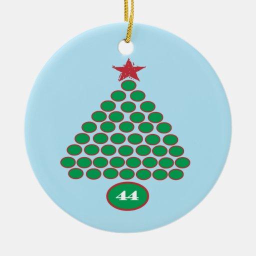 Obama 44  Christmas Ornament (blue)