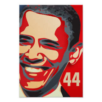 Obama - 44th President on a Red GIANT Poster