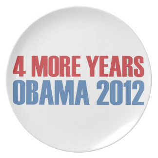 OBAMA 4 MORE YEARS DINNER PLATE