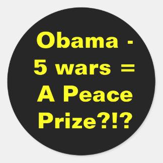 Obama 5 wars round sticker