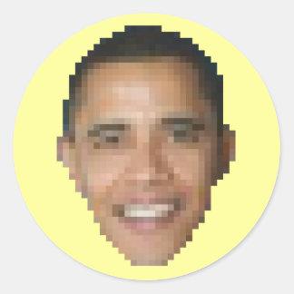 Obama 8-bit round stickers