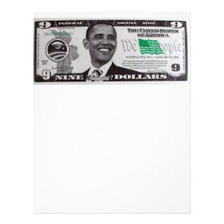 obama 9 Dollar Bill Letterhead