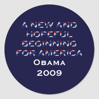 Obama A New Beginning Classic Round Sticker