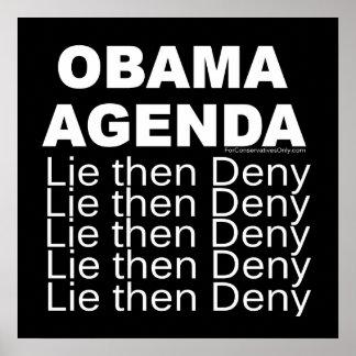 Obama Agenda - Lie then Deny Poster