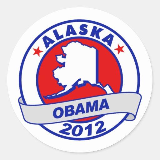 Obama - Alaska Pegatina Redonda