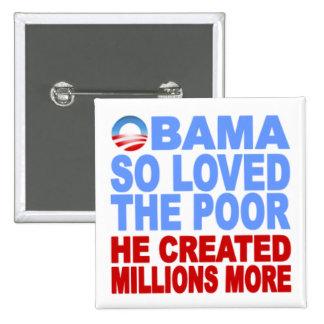 Obama amó tan el botón pobre pin cuadrado