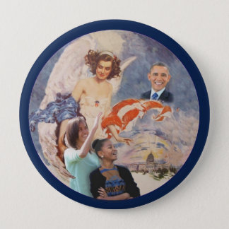 Obama and his daughters pinback button