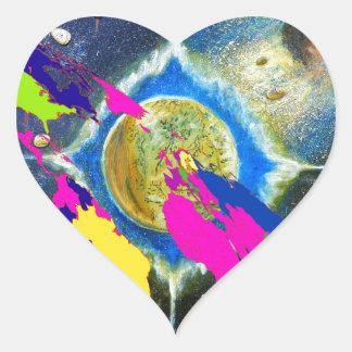 Obama and World Map Heart Sticker