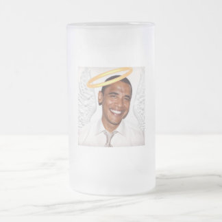 Obama Angel Frosted Glass Beer Mug
