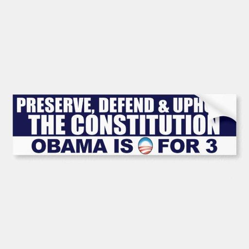 Obama anti - 0 para 3 - constitución pegatina para auto