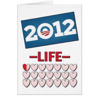 Obama anti 2012 ninguna vida tarjeta de felicitación