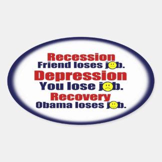 Obama anti - 2012 - recuperación pegatina ovalada
