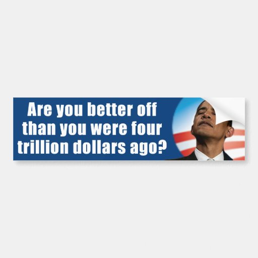 Obama anti - 4 trillón dólares pegatina de parachoque