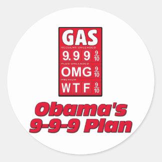 Obama anti: 999 altos precios de la gasolina del pegatina redonda