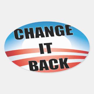 Obama anti - cambíelo detrás pegatina ovalada