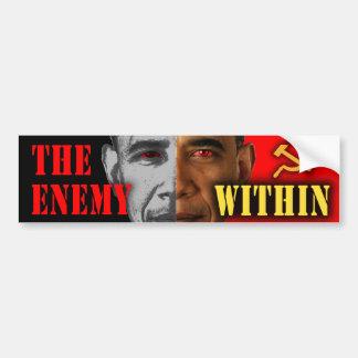 """Obama anti """"el enemigo dentro"""" de la pegatina para etiqueta de parachoque"""