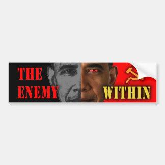 """Obama anti """"el enemigo dentro"""" de la pegatina para pegatina de parachoque"""
