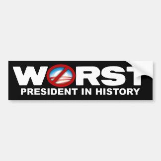 Obama anti - el presidente peor en historia etiqueta de parachoque