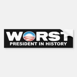 Obama anti - el presidente peor en historia pegatina para auto