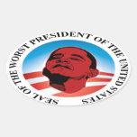 Obama anti - el presidente peor calcomanía oval personalizadas