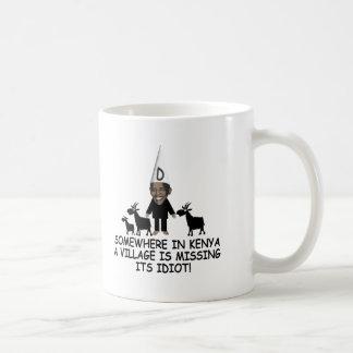 Obama anti, idiota del pueblo taza de café