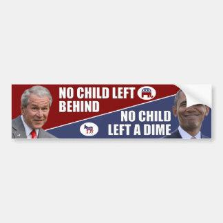 Obama anti - ningún niño dejó una moneda de diez c pegatina para auto