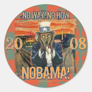 Obama anti ninguna manera ninguna cómo Nobama Pegatina Redonda