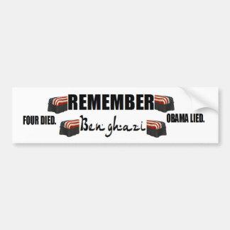 obama anti Recuerde Bengasi cuatro muertos Pegatina De Parachoque
