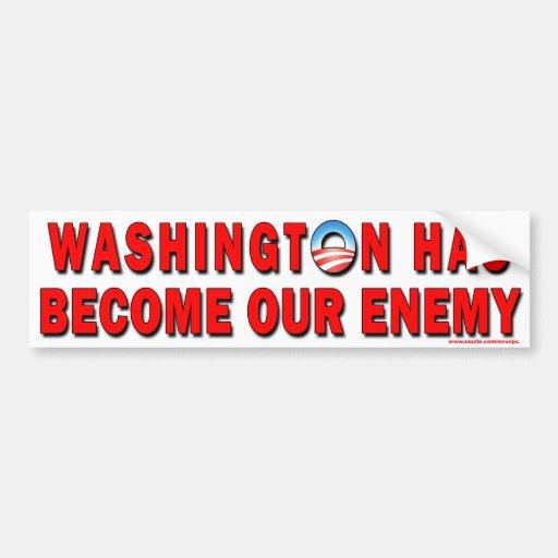 "Obama anti ""Washington es"" pegatina enemigo Pegatina Para Auto"