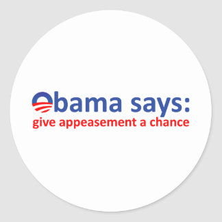 Obama Appeasement Classic Round Sticker