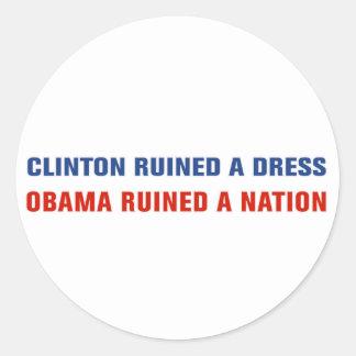Obama arruinó una nación pegatina redonda