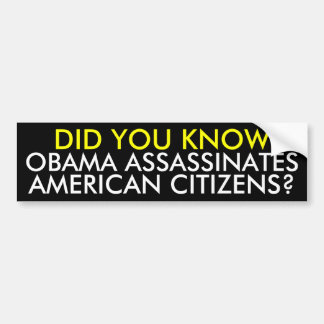 OBAMA ASSASSINATES, AMERICAN CITIZENS?, DID YOU... BUMPER STICKER