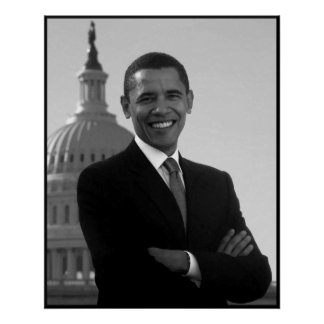 Obama At The Capitol Building -- Black & White Poster