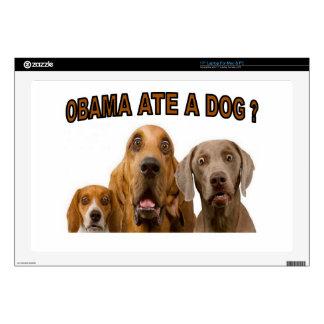 """OBAMA ATE A DOG.jpg 17"""" Laptop Skin"""