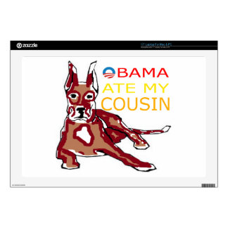 """OBAMA ATE MY COUSIN.png 17"""" Laptop Skins"""