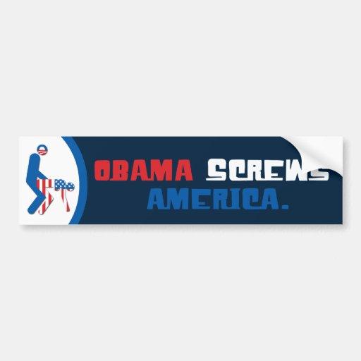 Obama atornilla a la pegatina para el parachoques  pegatina de parachoque