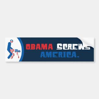 Obama atornilla a la pegatina para el parachoques  pegatina para auto
