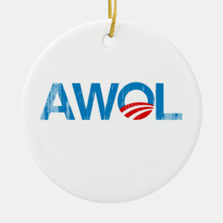 OBAMA AWOL Faded png Ornament