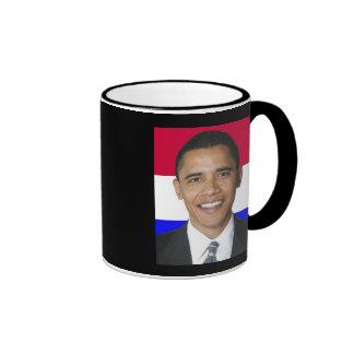 Obama azul blanco rojo, OBAMA '08, taza negra del