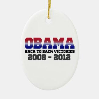 Obama Back-to-Back Victory 2008 - 2012 Ceramic Ornament