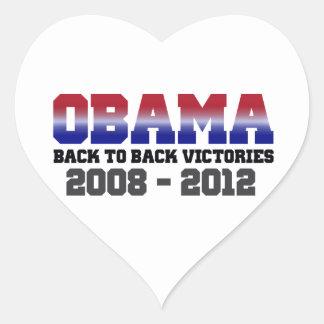Obama Back-to-Back Victory 2008 - 2012 Heart Sticker