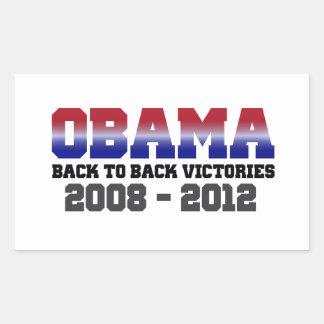 Obama Back-to-Back Victory 2008 - 2012 Rectangular Sticker