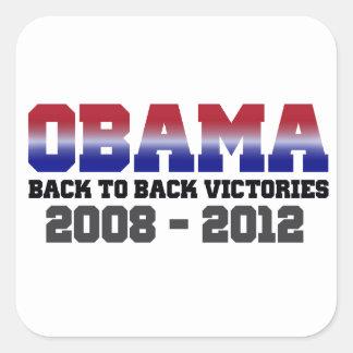 Obama Back-to-Back Victory 2008 - 2012 Square Sticker