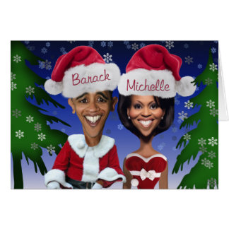 Obama Barack and Michelle Obama Caricature Holiday Card